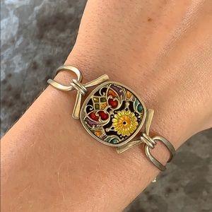 Vintage Enamel Nouveau Flower Silver Bracelet